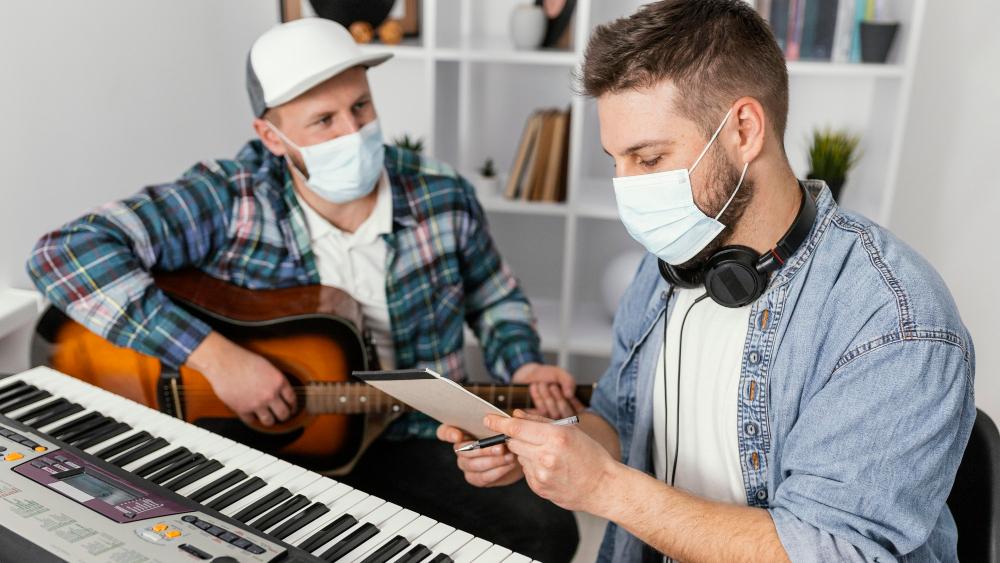 musicians wearing covid masks